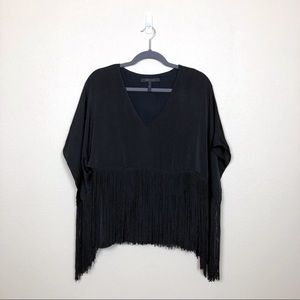 BCBGMAXAZRIA small Iniko black fringe cape top